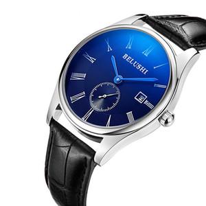 Beiluoshi водонепроницаемого календаря случайных моды мужские часы нового Blu-Ray кожаного ремешка кварцевых часы