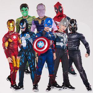 Disfraces de Halloween los niños 20 estilos Marvel Avengers superhéroes Spiderman pantera negro Iron Man traje de los niños de Halloween Ropa ZSS224