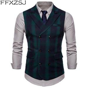 FFXZSJ 2019 Mode Nouvelle Arrivée Hommes Gilet Haute Qualité Marque Business Gentleman Plaid Sans Manches Double Poitrine Hommes Vestes