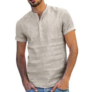 Los hombres de algodón de lino holgada Soid de la manga del cortocircuito del color retro camisas remata la blusa de compras caliente de la manera Venta