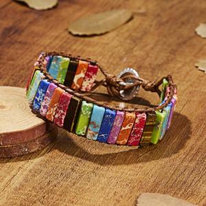 Каменная трубка бусины Богемия браслет ювелирные изделия ручной работы многоцветный натуральный бисер кожа обмотка браслет пара браслет творческая благосклонность RRA2769