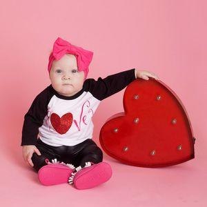 Infant Baby Girls Boys Letter Print Valentine Tops Chaparajos Pants Outfits Set summer 2019 vestido infantil ensemble fille