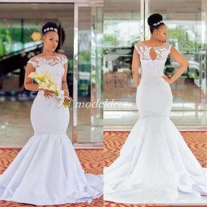 Plus Size White Mermaid Wedding Dresses Bateau Hollow Back Sweep Train Appliques Illusion Bodice Chapel Garden Country Bridal Gowns 2019
