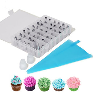 51pcs / set Dessert Decorators Silicone Glassa Piping Cream Bag Pasticceria + 48 ugello in acciaio inox Set di strumenti di decorazione torta fai da te