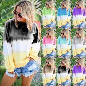 Femmes De Luxe Automne Mode Hoodie Femmes Explosion Arc-En-Gradient Imprimé À Manches Longues Designer Sweatershirts 9 Couleur Plus La Taille S-5XL