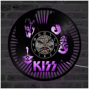 """발광 비닐 레코드 벽시계, 12 """"레트로 지단백 백라이트 현대 매뉴얼 미술 장식 나이트 라이트 시계 세븐 색상을 LED 키스"""