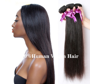 1B# Nature color 100% Peruvian Human vrigin remy hair Straight wave with 3 Bundles
