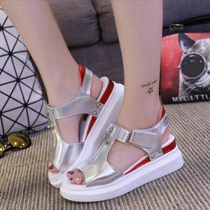 Hot Sale-2019 Verano Mujer Plataforma Sandalias Comfort Shopping Ladies Wedge Casual Walking Shoes Mujer Negro Blanco Plata Sandalias