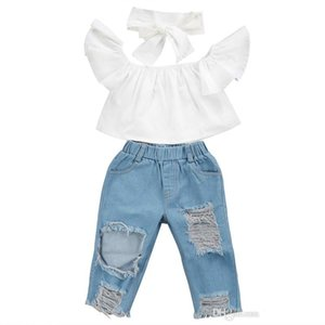 New Fashion Children Girls Clothes Off Shoulder Crop Tops White+ Hole Denim Pant Jean Headband 3pcs Toddler Kids Clothing