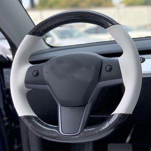 Para Tesla Model 3 DIY mão-costurado Car Steering Wheel Cover alta qualidade Couro Fibra de Carbono Branco