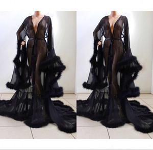 Black Bathrobe for Women Plush Cuff Full Length Lingerie Nightgown Pajamas Sleepwear Luxury Dressing Gowns Housecoat Nightwear Lounge Wear