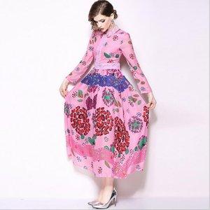 Semaine de la mode printemps 2019 Catwalk Lace revers col Flora robes imprimées manches longues Maxi Dress Street Style robes jupe