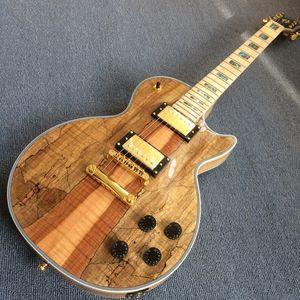 Elektrik gitar Sıcak Satış LP Harita paneli Şeffaf günlük gitar, Gerçek Abalone kakma ile Maple parmak kurulu, Altın donanım 19