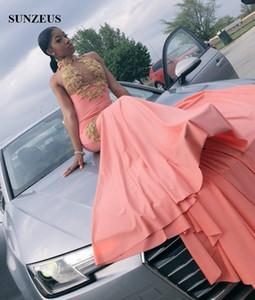 Sereia Halter Pescoço Coral Prom Vestido Com Apliques De Ouro Frisada Sexy Top Longo Vestidos de Festa Preto Meninas Prom2k19