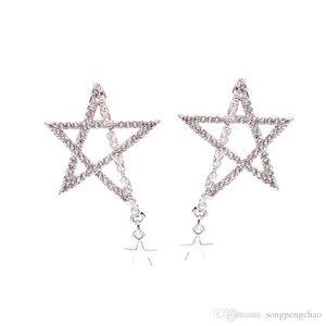 Korea hot sale irregular stars s925 silver needle earrings hollow zircon pentagram star earrings personality hundred matching accessories