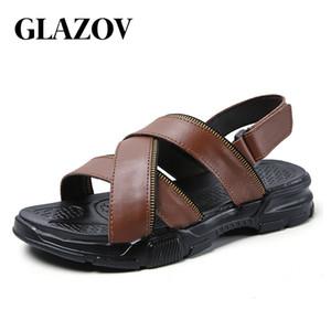 Glazov Sommer-Männer Sandalen komfortables Fahren Leder Herren Schuhe verdickte Sohle Strand Pantoffeln Sandalen hombre