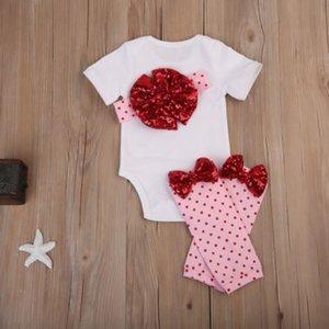 Emmababy Hot Lovely 4шт новорожденная девочка День Святого Валентина топы комбинезон + брюки наряды комплект одежды