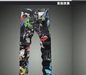 Großhandels-Heißer Verkaufs-Winter-Blumenmuster Herren Jeans Qualitäts-Schwarz-Biker Jeans 2016 New Designer Denim Overalls Herren-Marken-Kleidung