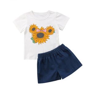 Pudcoco 2019 Toddler Kid Baby Girl Sunflower Clothes Set 2шт наряды летние топы хлопчатобумажная футболка джинсовые шорты Детская одежда