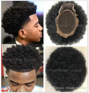 """2020 Venta caliente 6"""" # 1b del pelo remy indio del pelo afro rizo africano Hombres de American Base Mono Bisoñes con la PU Alrededor de envío!"""