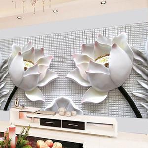 3D Stereo Rölyef Lotus Beyaz Çiçekler Duvar Resmi Duvar Kağıdı Modern Klasik Art Salon Backdrop Duvar Kaplama Papel De Parede