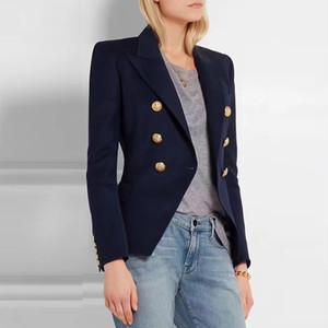 HAGEOFLY 2017 Giacchette ufficio Giacche Blazer blu donne cappotto casuale Bottoni Doppio Petto metallo delle donne giacca sportiva Y191101 femminile