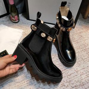 Новое прибытие Brand Женщина Boots Роскошных сексуальные Толстого каблук Desert Платформа загрузка Bee Star из натуральной кожи зима Размера обуви 35-41 c09h