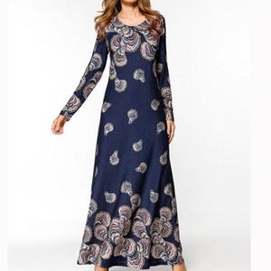 여성 Vestidos Party Dress 보헤미안 인쇄 된 플러스 사이즈 긴팔 O-Neck National Style 슬림 롱 드레스 Dropship