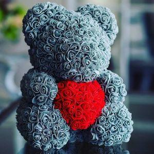 2018 venda quente 40 cm urso de rosas flores artificiais casamento festival diy decoração do casamento barato grinalda artesanato
