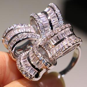 جديد فاخر مجوهرات 925 فضة الأبيض توباز تشيكوسلوفاكيا خاتم الماس زهرة المرأة الزفاف الاشتباك الفرقة عصابة لمحبي هدية