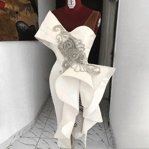 2020 New Real immagine Tè diritto Lunghezza Prom Dresses Bianco increspature Vestito da partito convenzionale di cristallo di una spalla appositamente progettata Abendkleider