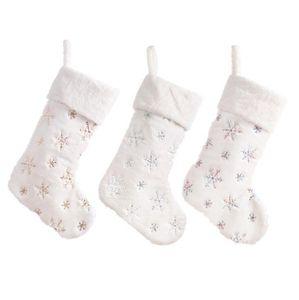 Noel Çorap Beyaz İmitasyon Tavşan Saç Yumuşak Boncuk İşlemeli Çorap xms Dekorasyon Parti Malzemeleri OOA7371 Asma