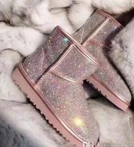 2020 lentejuelas clásicas botas de invierno, botas hasta la rodilla Australia para hombre de las mujeres de castaño gris negro nieve diseñador de botas de piel para mujer para hombre del tobillo con la caja