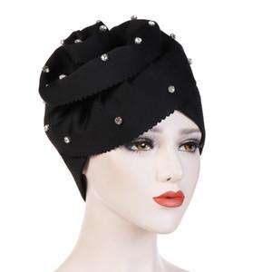 Femmes Musulman Élastique Perle Grande Fleur Soie Coton Turban Bonnets Chapeaux Satin Bonnet Head Wrap Chemo Cap Perte De Chapeau Accessoires