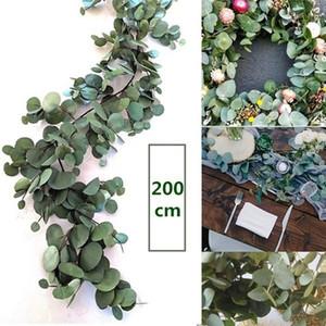 2m Decoración de la boda Artificial Green Eucalyptus Vines Rattan artificial Fake Plants Ivy Wreath Wall Decor Vertical Garden