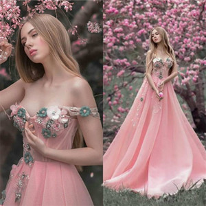 Hot Sale Pink A-line Evening Dresses Sexy Strapless Sleeveless Hand Made Flower Party Dress Appliqued Lace Beaded Sweep Train Prom Gown