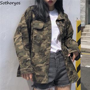 Collar solo pecho Bolsillos mujeres de las chaquetas de camuflaje de apertura de cama estilo abrigos para mujer europeas pierden BF Ulzzang estudiantes Jakcet Y200101
