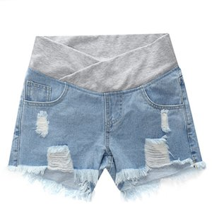 Беременные женские шорты Летняя одежда с низкой талией Джинсовые шорты Летние свободные брюки для беременных Одежда для беременных