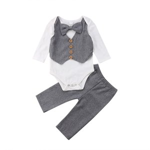 2 pieces Long sleeve Bowtie Bodysuit Top and Solid Pant Set For Baby Boy Clothes