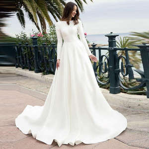 Старинные с длинными рукавами атласные свадебные платья Bateau Sweep Train Простой кантри-стиль Мусульманское свадебное платье vestido de novia Дешевые свадебные платья