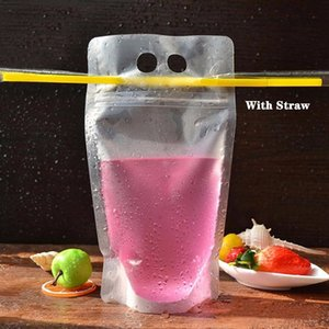 Wholesale Disposable Juice Coffee Liquid Bag Vertical Seal Drink Bag Clear Drink Pouches With Straw Party Tableware