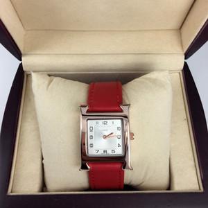 Новая модель Fashion Lady наручные часы красные кожаные женские часы из розового золота Нержавеющая сталь красные кожаные наручные часы Марка женские часы бесплатная коробка