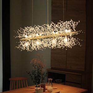 Nordic Lenght Gold Chrome Metal Crystal Chastelier Home Гостиная Отель Подвесной Лампа Креативный декор PA0569