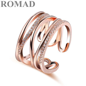 ROMAD Trendy Adjustable Ring Rose Gold Color CZ Rings for Women Fashion Color Aneis De Ouro Zirconia Cross Ring Jewelry bague