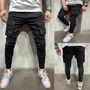 New Black Biker Cargo-Jeans Männer Multi-Tasche Slim Fit Jogger Hose Herren Ripped Loch Motorrad Street Denim-Bleistift-Hosen