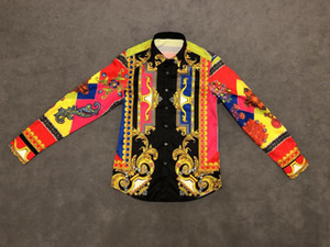 2020 neue Art und Weise der Männer Shirts Langarm-Shirts Regular Luxuxblume Jugend Slim Fit Männer Shirts Designer Social Masculina Größe M-2XL