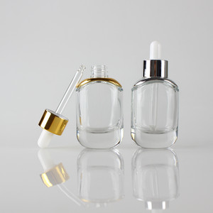 أزياء زجاجة بالقطارة 30ML اضحة حاوية مستحضرات التجميل من الضروري النفط التعبئة والتغليف 1OZ HOTSALE، 30ML زجاج مصل زجاجة بالقطارة