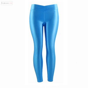 Color Fluorescent Women Workout Leggings V Multicolor Shiny Glossy Trousers Plus Size Female Elastic Casual Waist Pants
