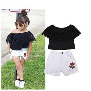 New Fashion Toddler Baby Kids Baby Girls Off Shoulder Lace Tops Denim Floral Shorts 2pcs 2019 Summer Outfits Set