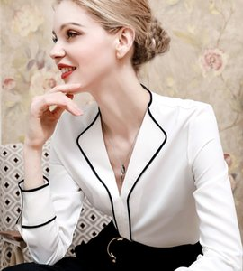 Women's shirt French design contrast V-neck small Lapel long sleeve commuter solid color fashion new product women's long sleeve shirt